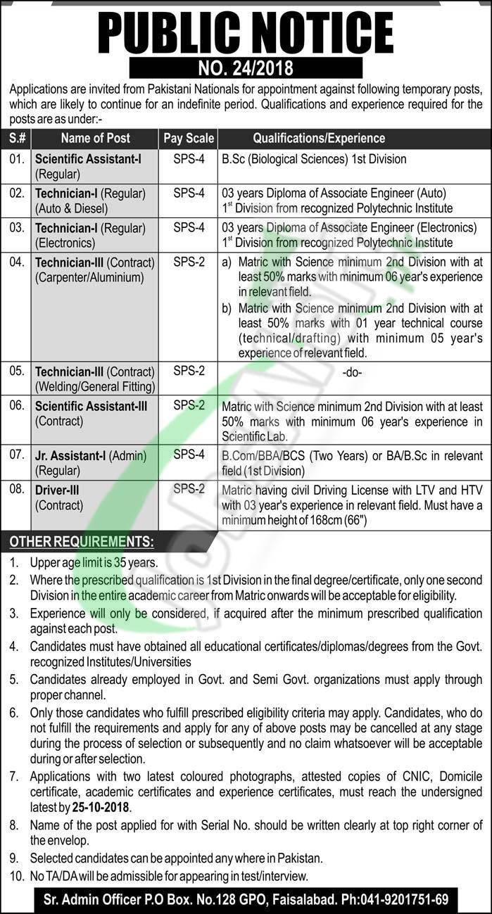 PO Box 128 GPO Faisalabad Jobs 2018 Atomic Energy Pakistan