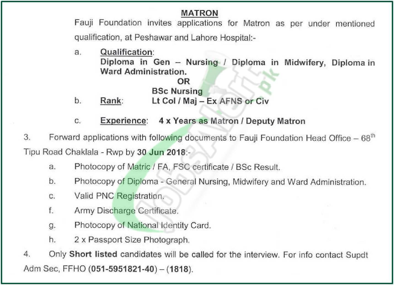 Fauji Foundation Hospital Jobs 2018