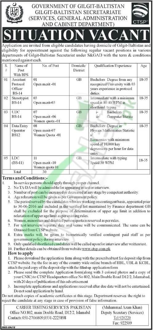 Gilgit Baltistan Secretariat Jobs
