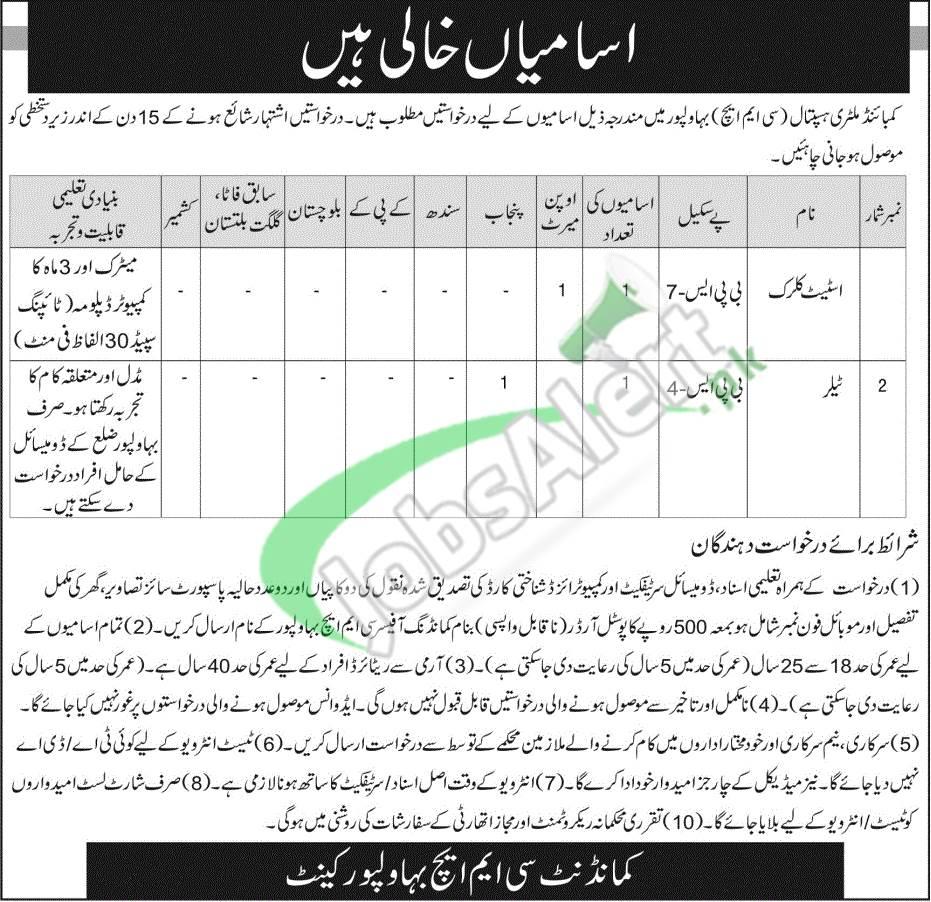 CMH Bahawalpur Jobs
