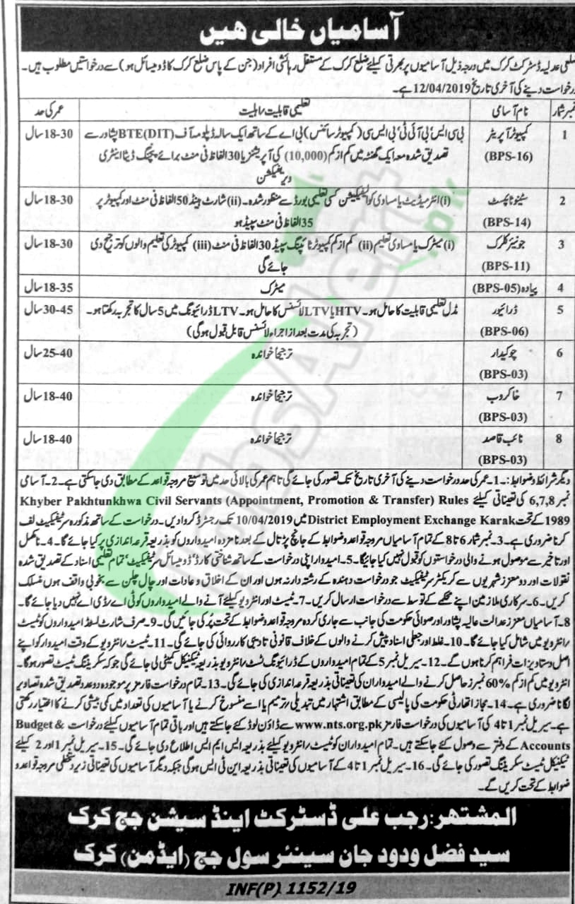 District and Session Court Karak Jobs 2019 Application Form Download
