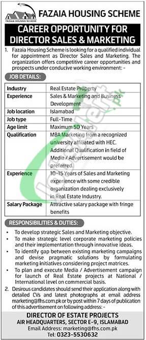 Fazaia Housing Scheme Islamabad Jobs
