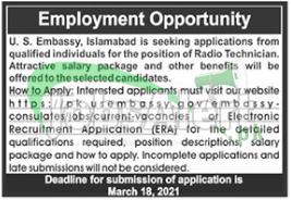 US Embassy Islamabad Jobs