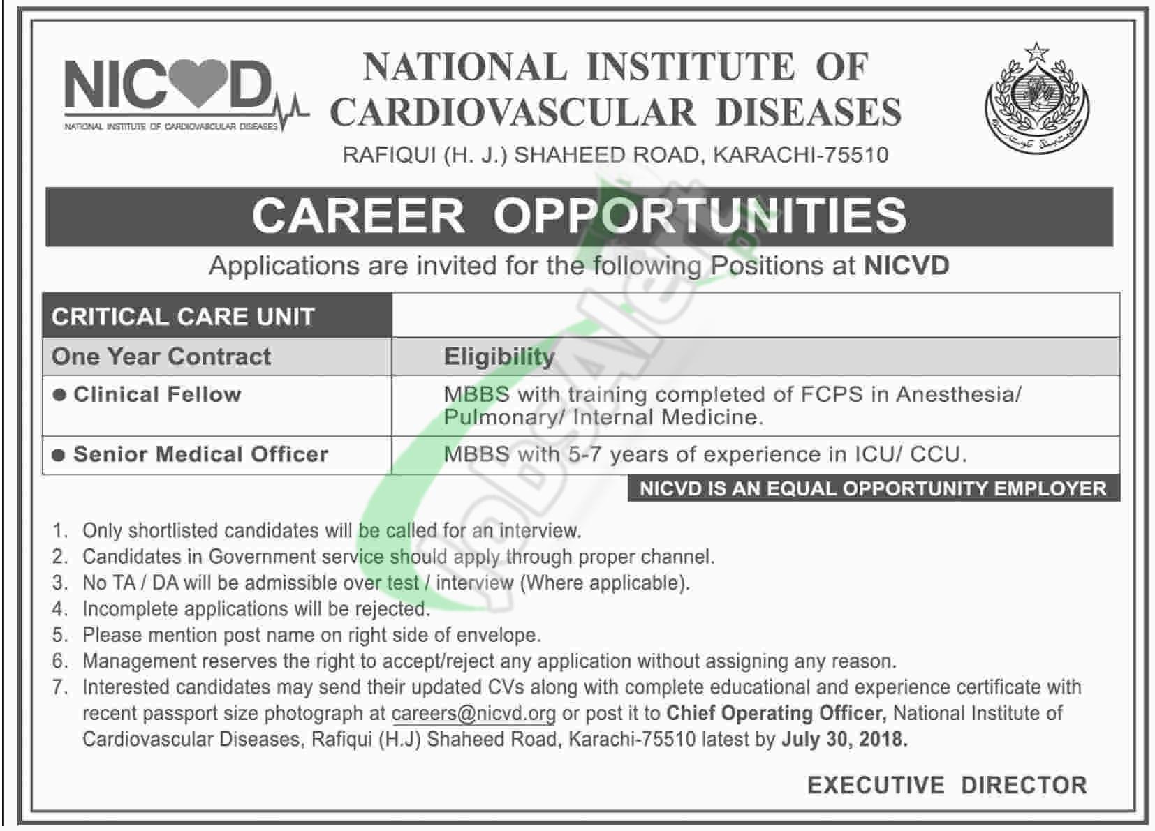 NICVD Jobs Karachi 2018