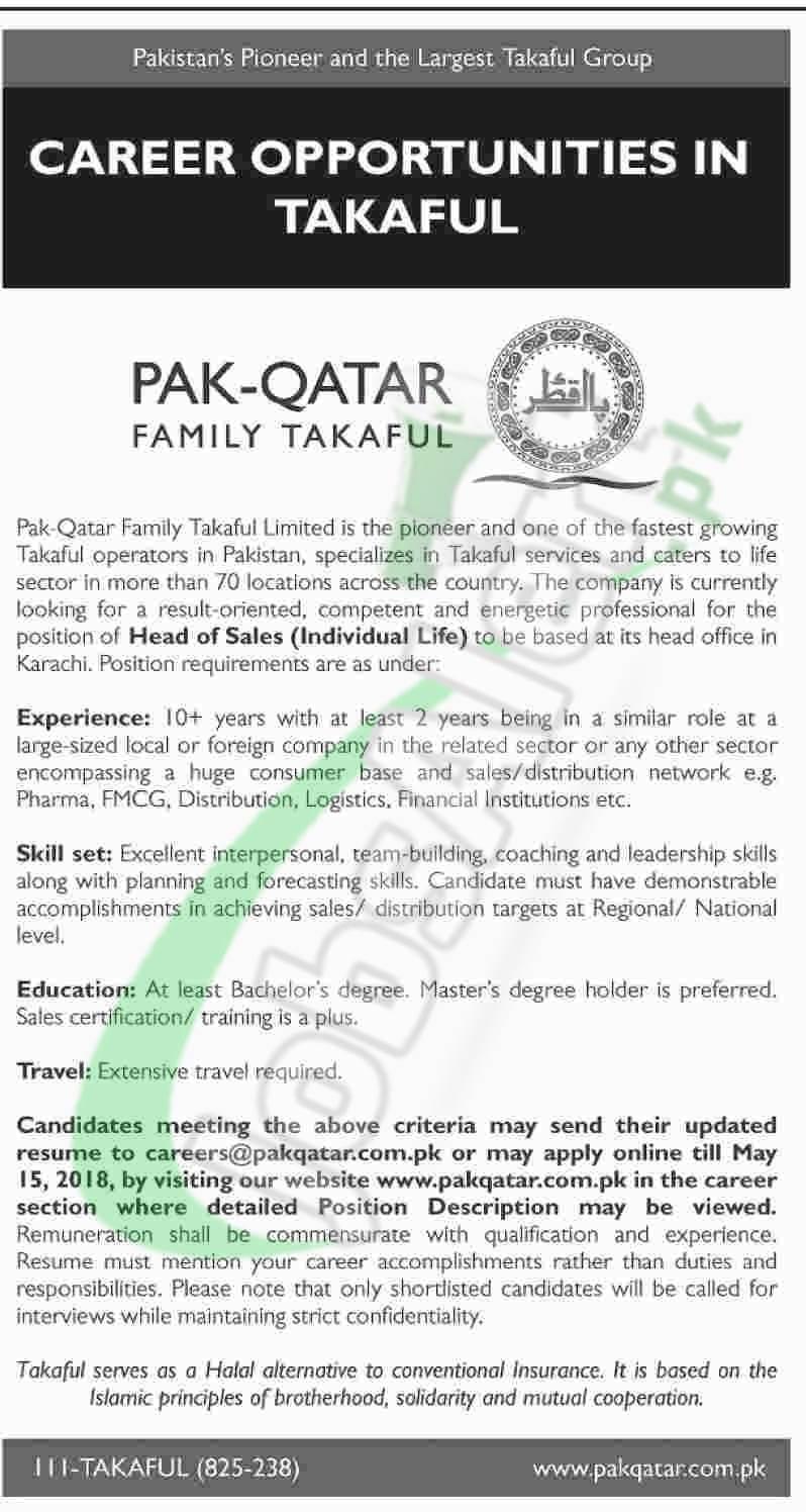 Pak Qatar Takaful Jobs 2018