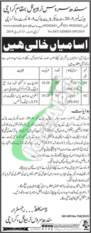 Sindh Service Tribunal Jobs