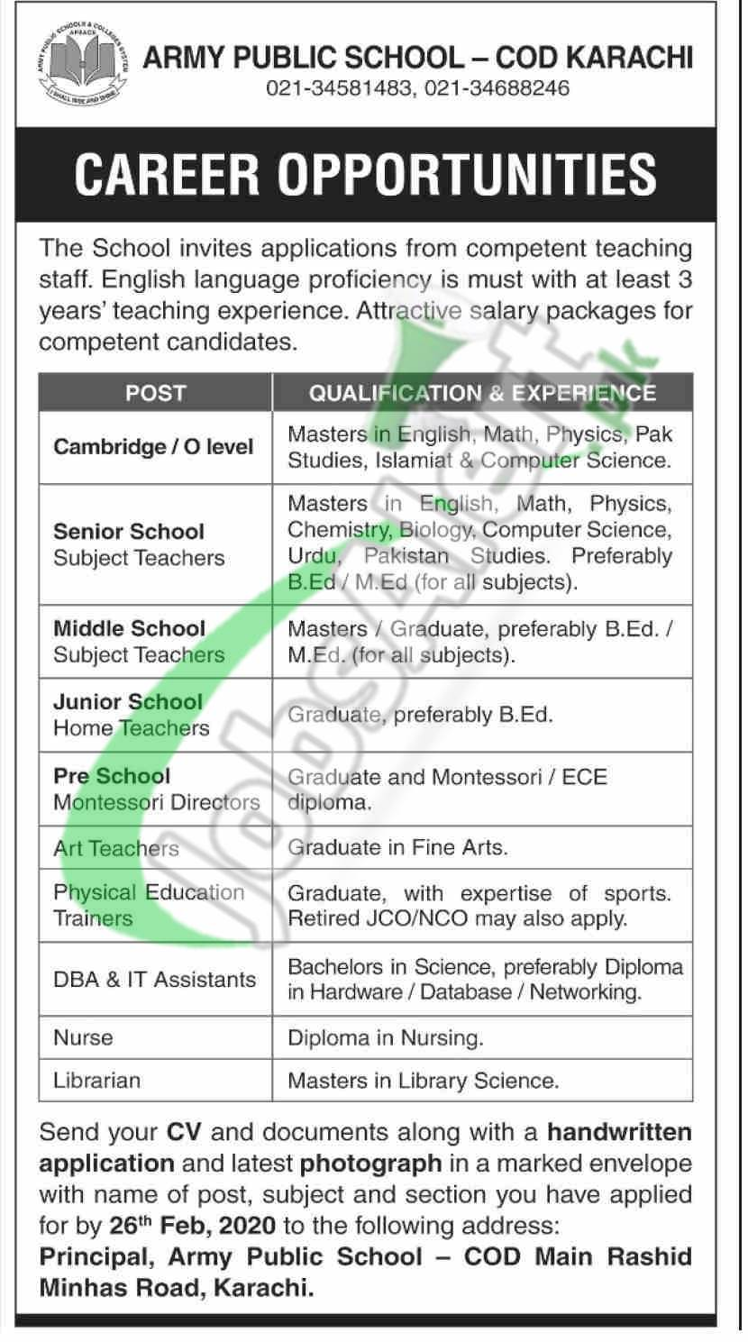 Army Public School Karachi Jobs