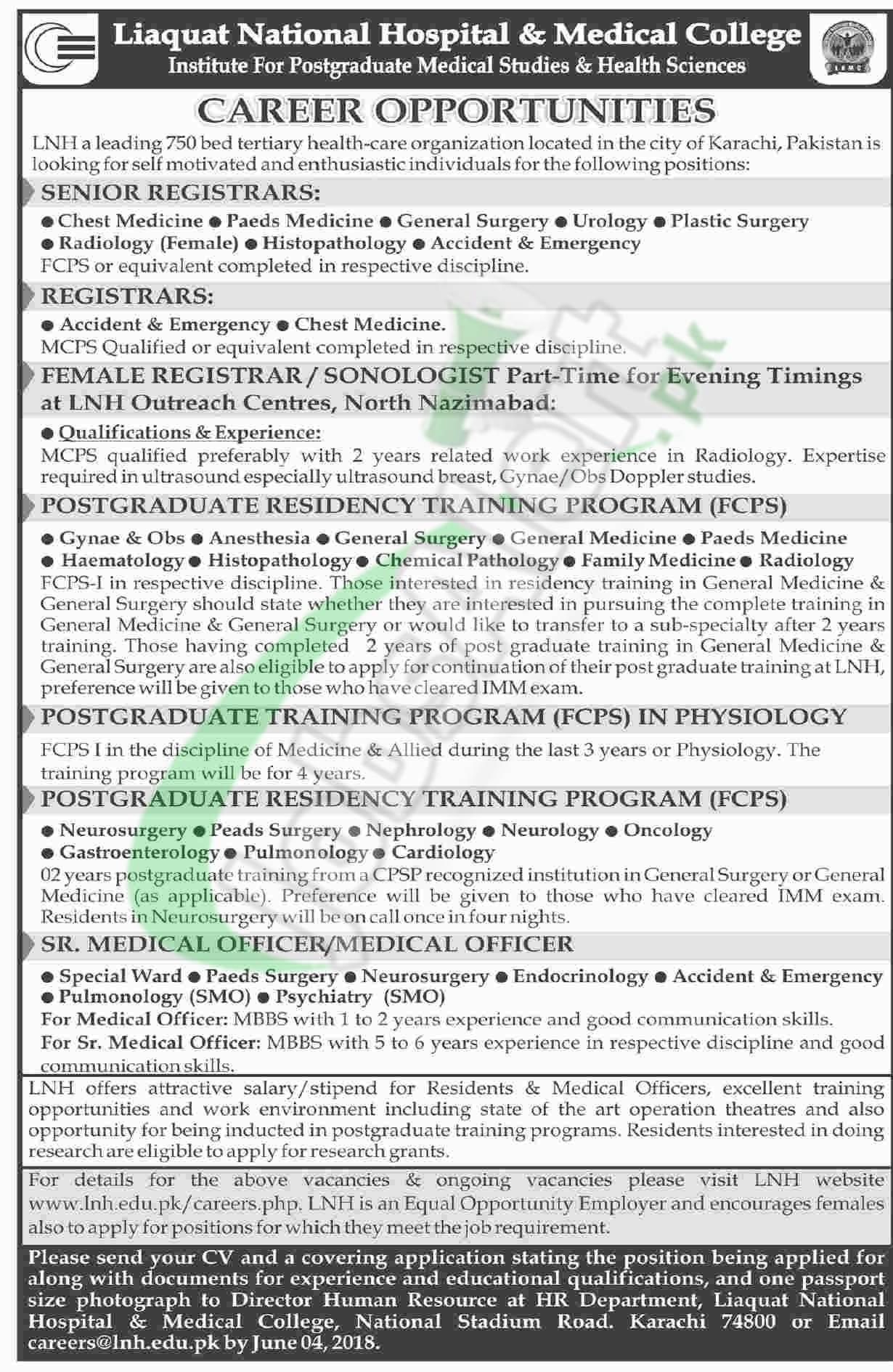 Liaquat National Hospital Jobs 2018 Karachi