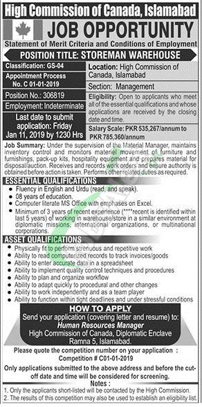 High Commission of Canada Islamabad Jobs 2019