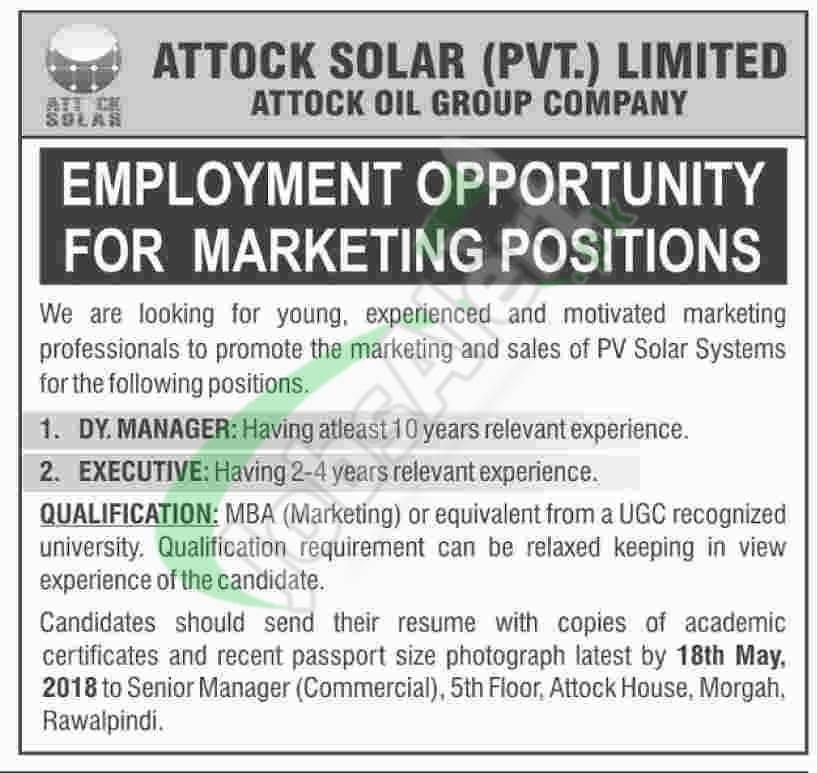 Attock Solar Pvt Limited Jobs