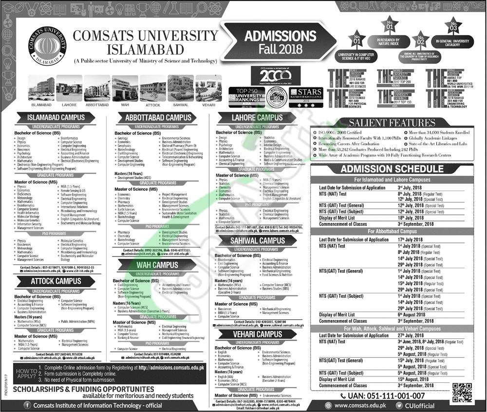 COMSATS Admission 2018 Fall