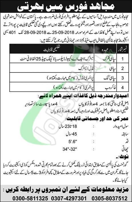 Mujahid Force Jobs September 2018