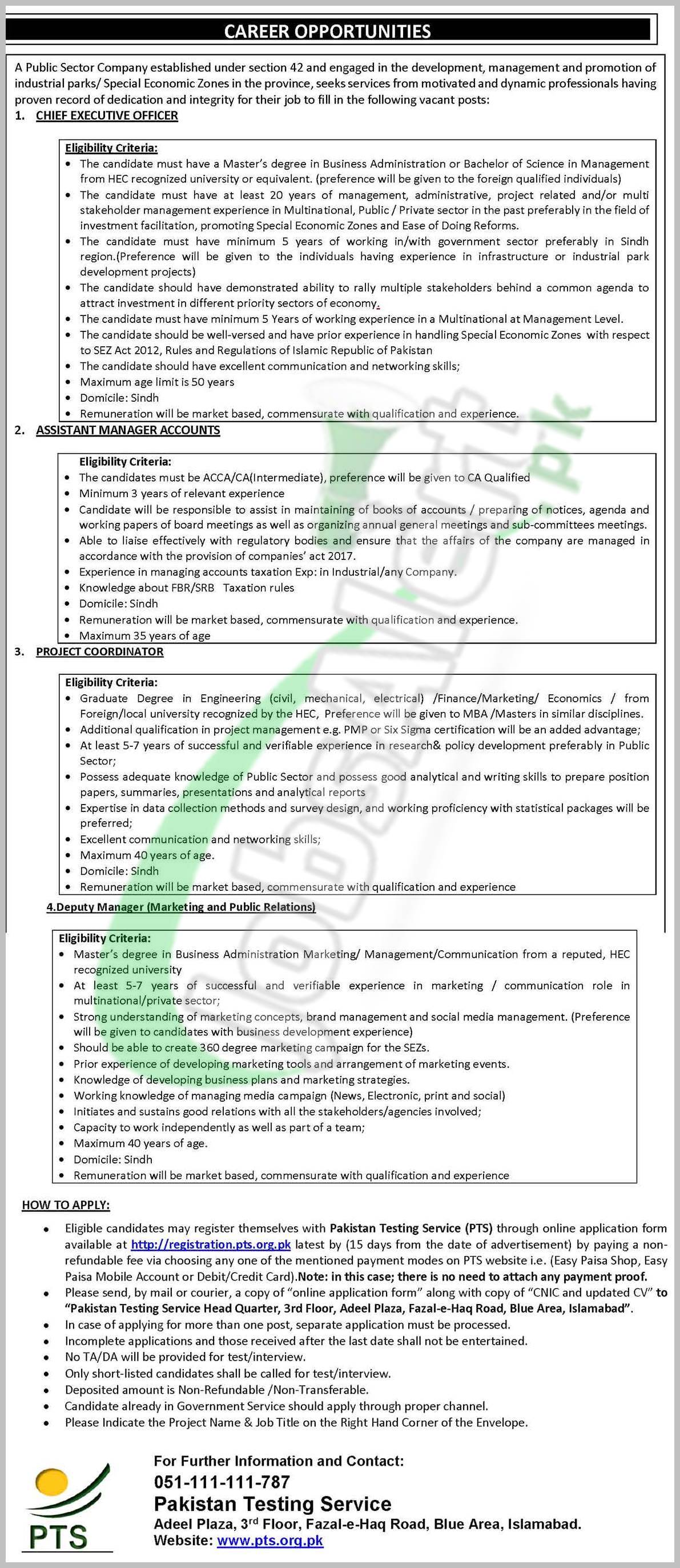 Public Sector Company Sindh Jobs 2018