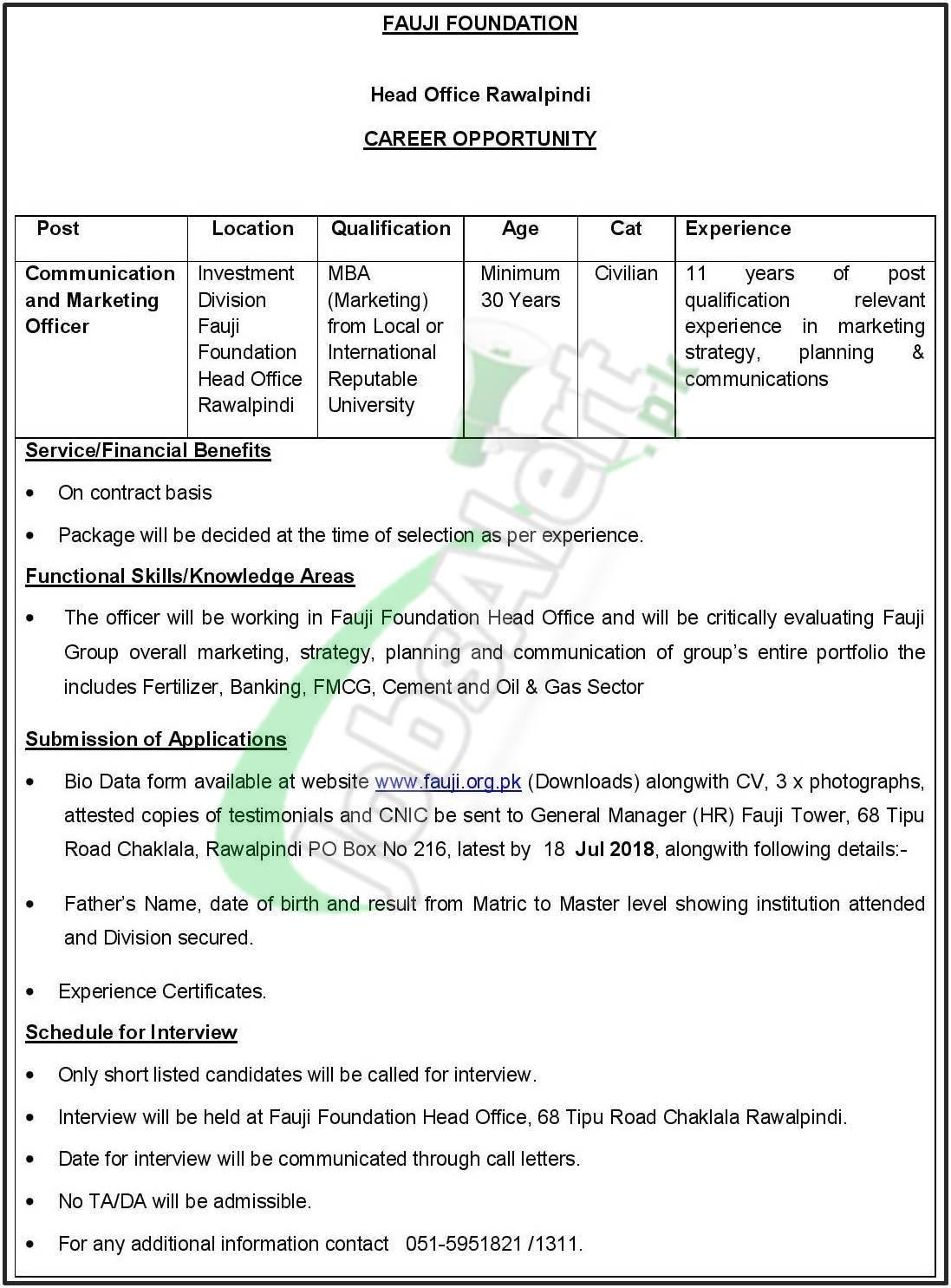 Fauji Foundation Rawalpindi Jobs