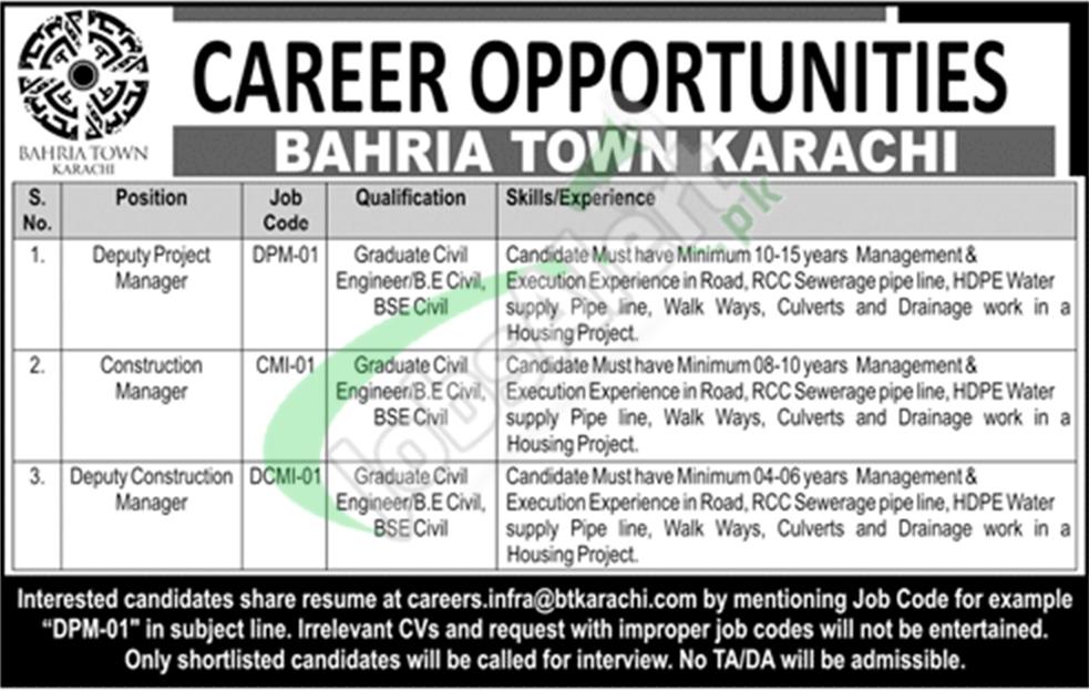 Bahria Town Karachi Jobs August 2018