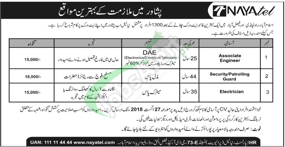 Nayatel Peshawar Jobs