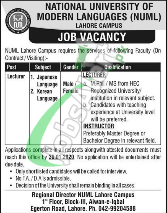 National University of Modern Languages (NUML) Job Vacancy