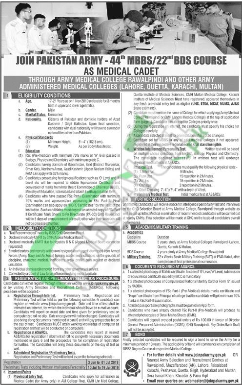Pak Army Medical Cadet Jobs 2019