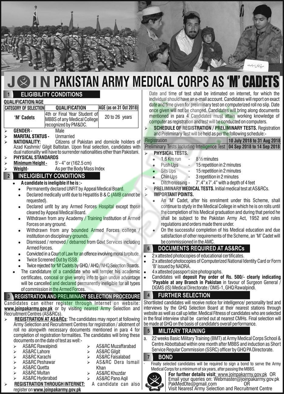 M Cadet in Pakistan Army 2018 Online Registration | www joinpakarmy