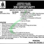 Lawrence College Ghora Gali Murree Jobs 2018