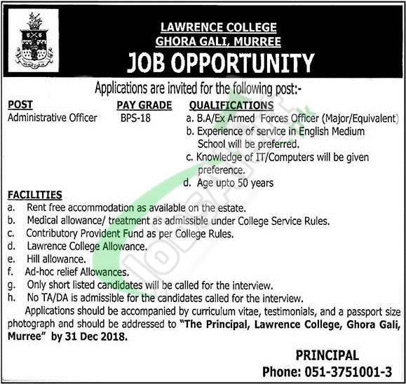 Lawrence College Ghora Gali Murree Jobs 2018