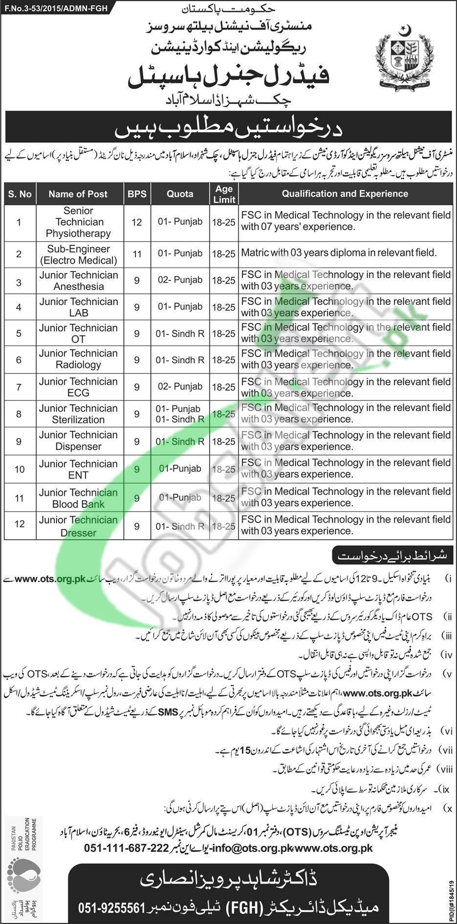 Federal General Hospital Chak Shahzad Islamabad Jobs 2019