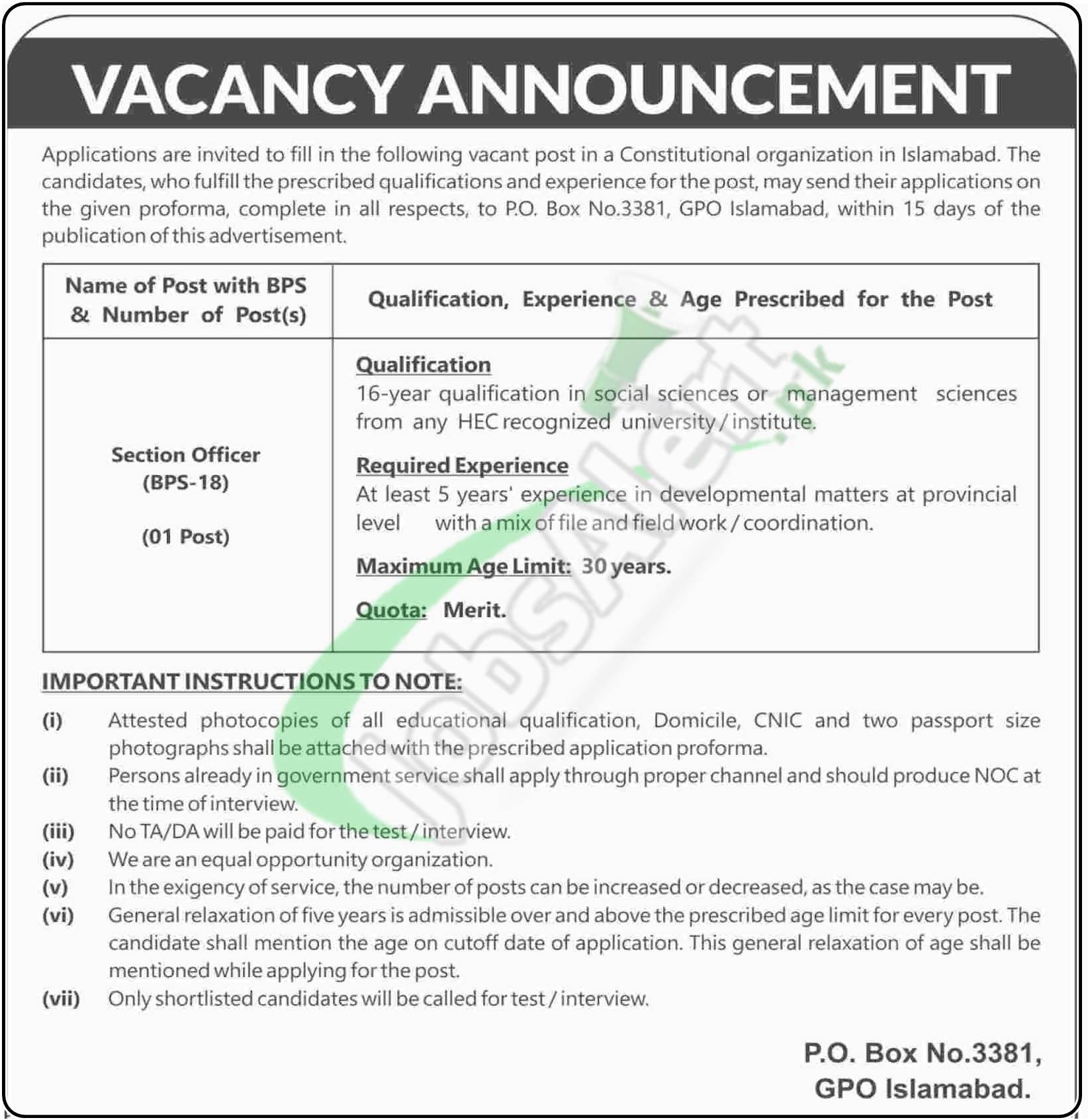 PO Box 3381 Islamabad Jobs