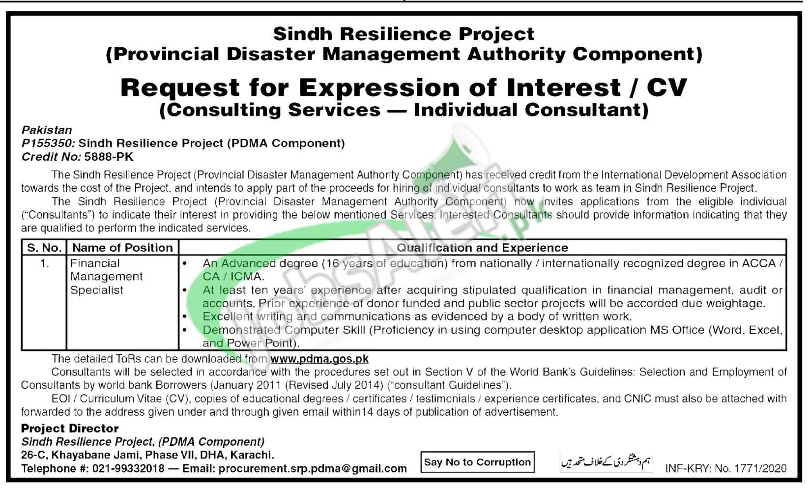 PDMA Sindh Jobs