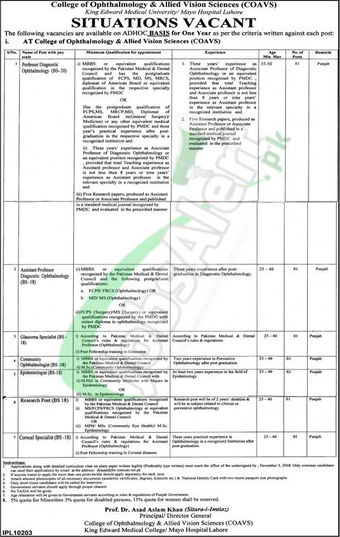 College of Ophthalmology and Allied Vision Sciences Lahore Jobs