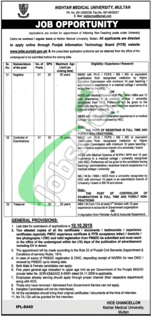 Nishtar Medical University Multan Jobs