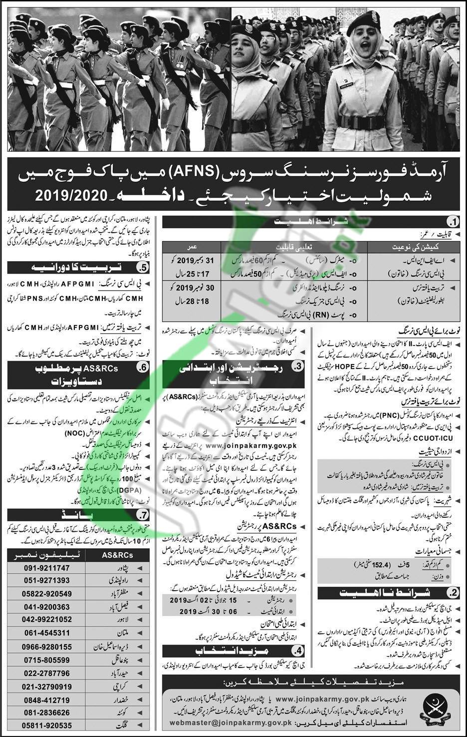 Join Pak Army AFNS Online Registration 2019 Advertisement Latest