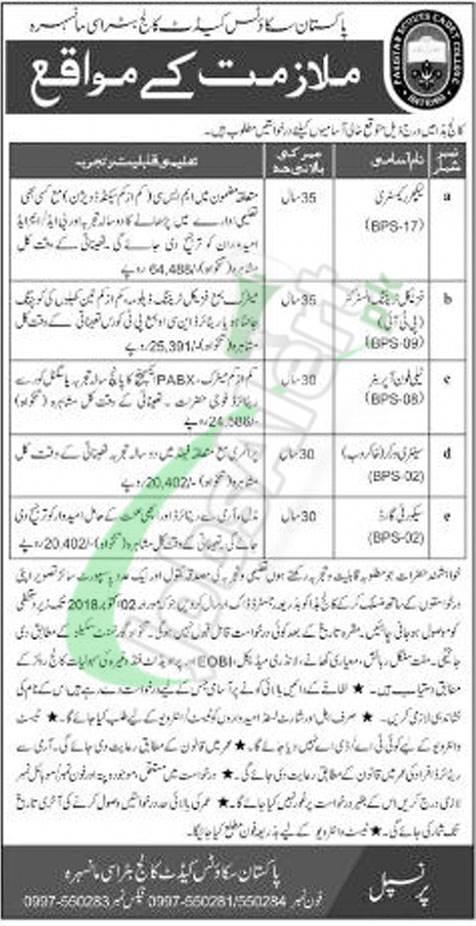 Pakistan Scouts Cadet College Batrasi Jobs