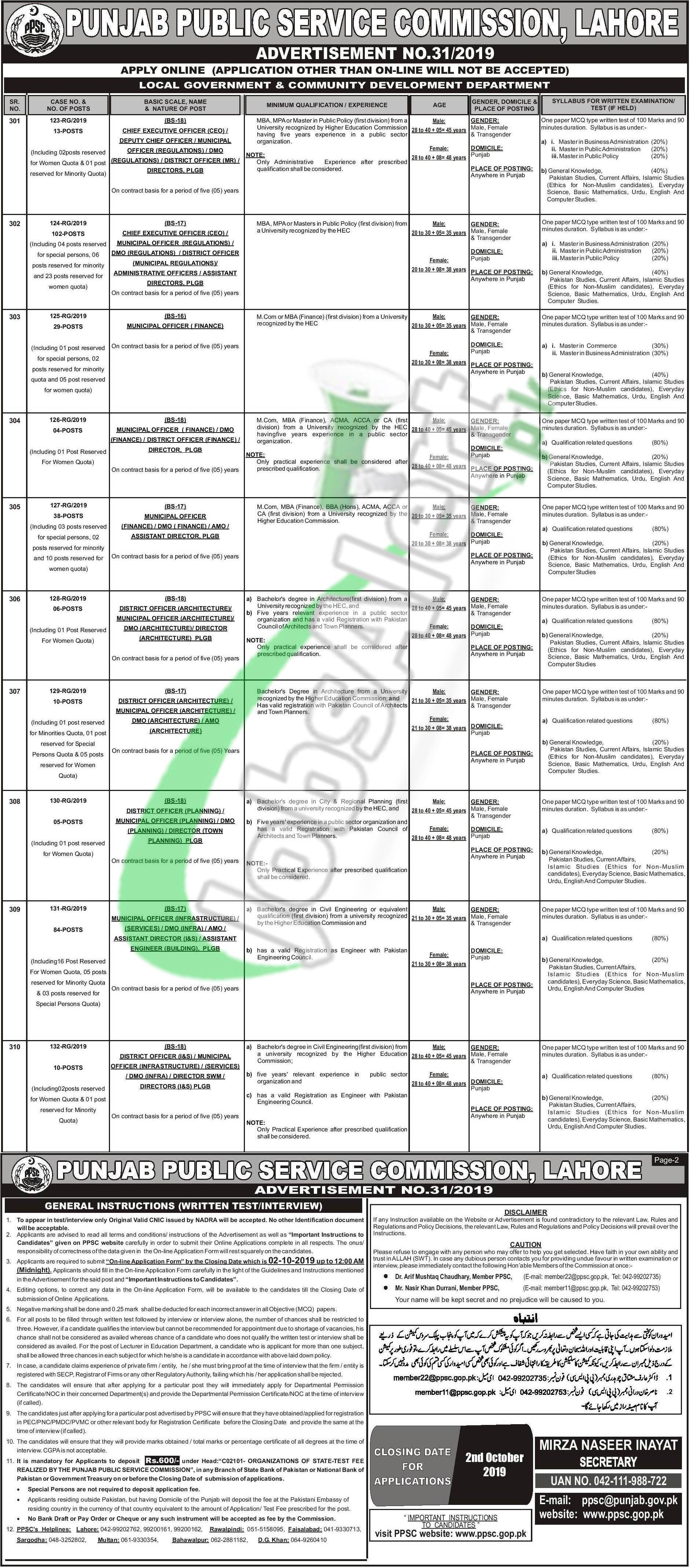 Local Government & Community Development Department Jobs 2019