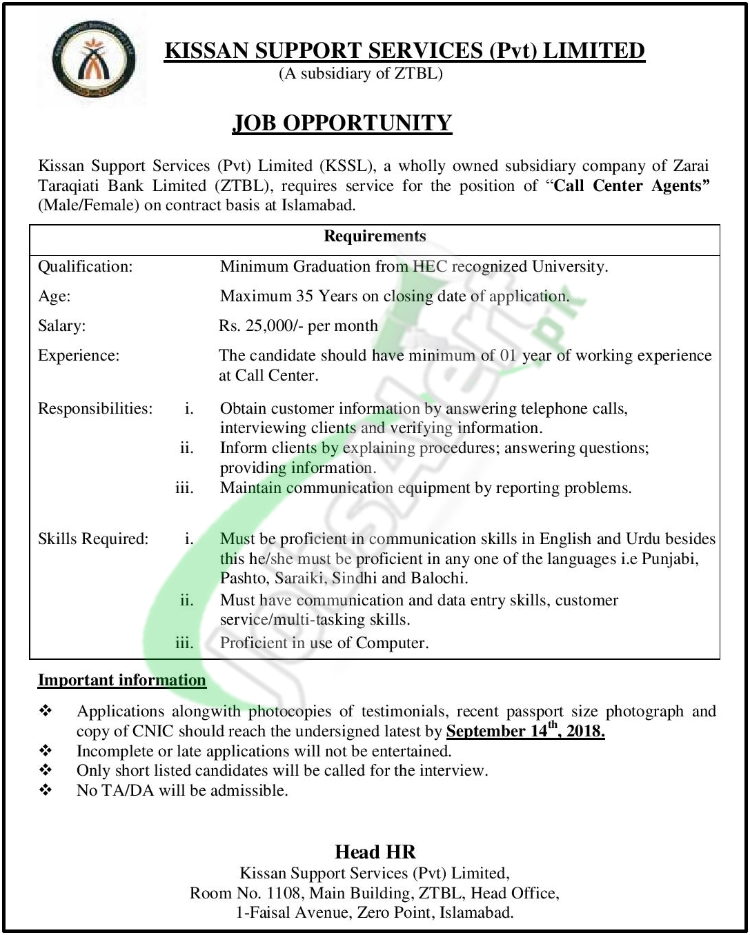 KSSL Jobs 2018 for Call Center Agents Application Form | www.kssl ...