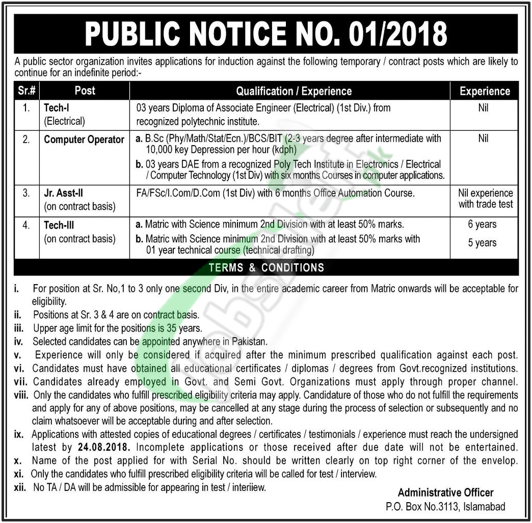 PO Box 3113 Islamabad Jobs