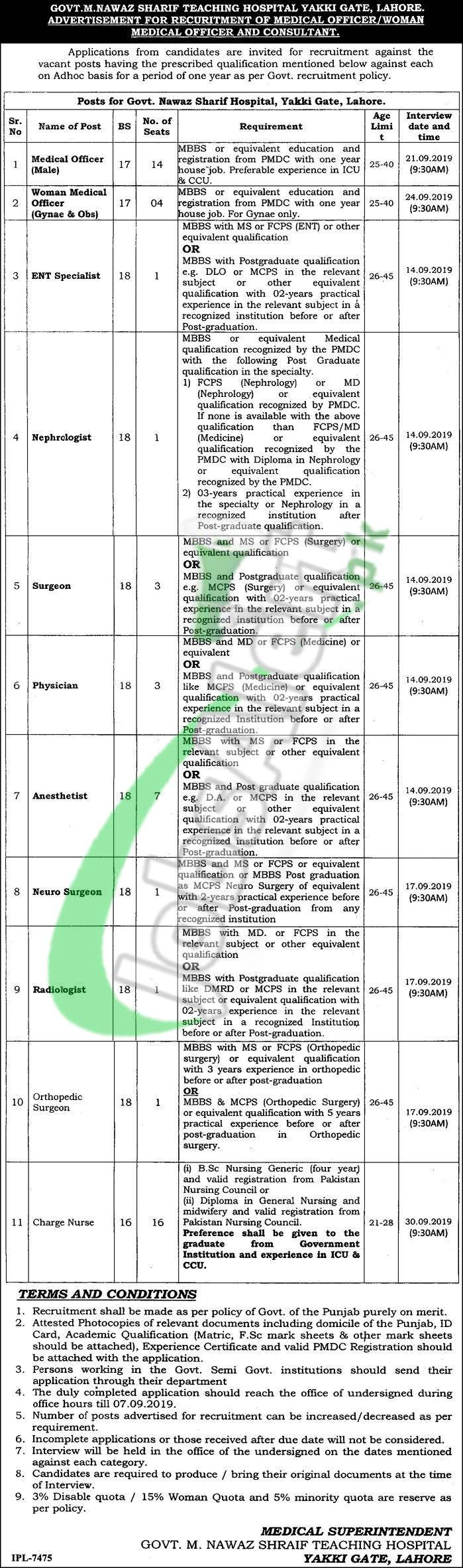 Nawaz Sharif Hospital Lahore Jobs