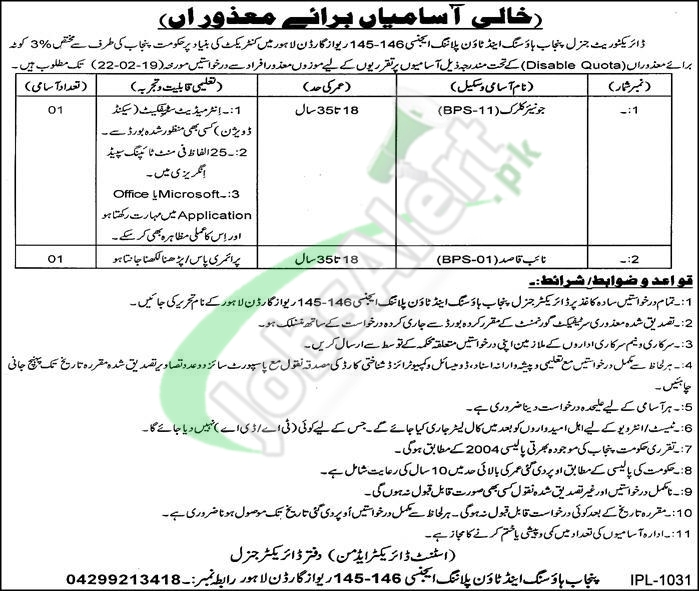Punjab Housing and Town Planning Agency Jobs 2019