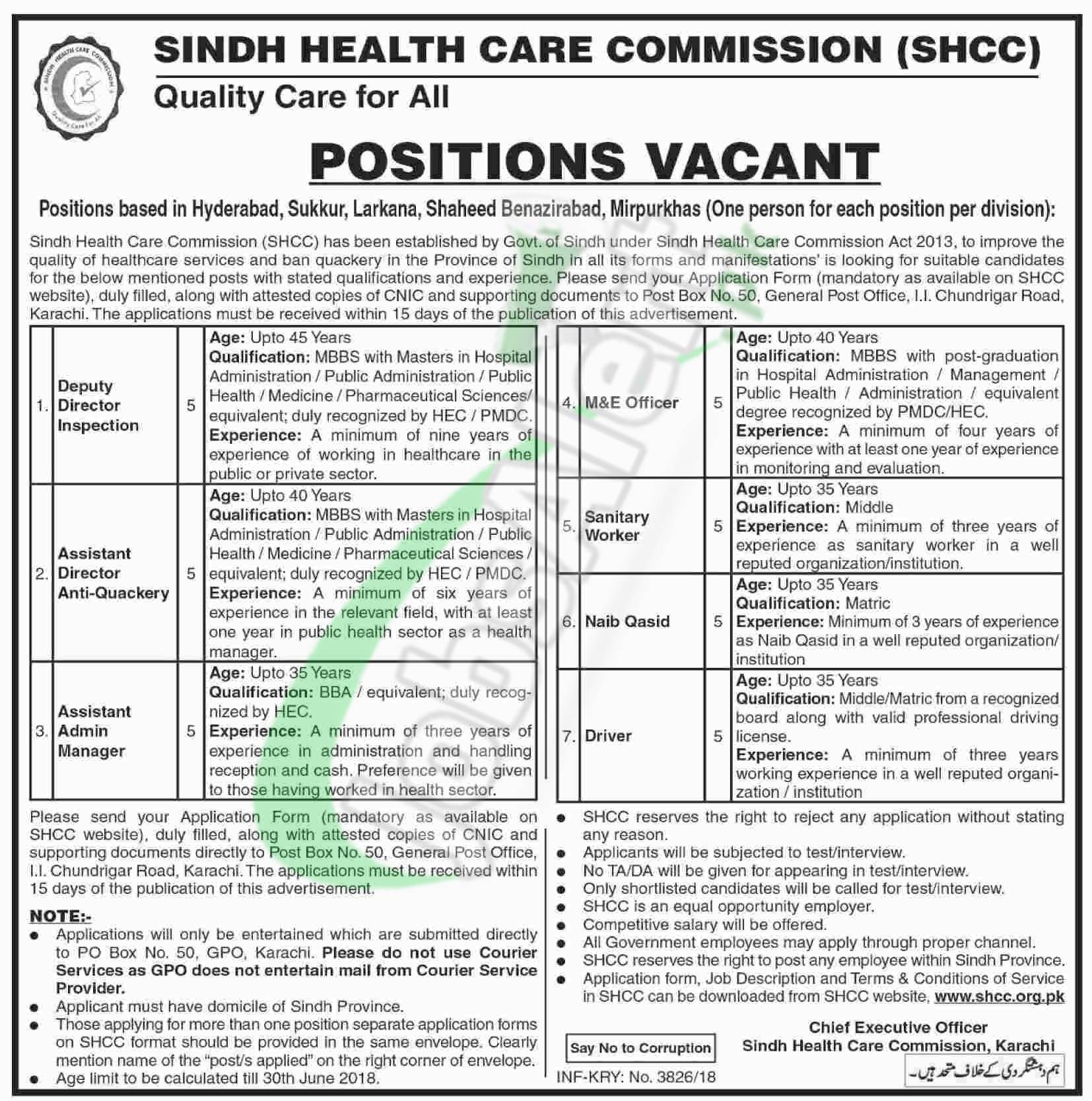 Sindh Healthcare Commission Jobs