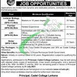 Cadet College Larkana Jobs