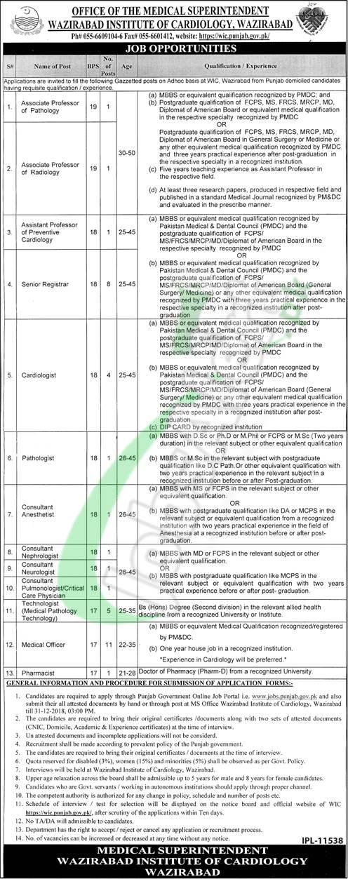 Wazirabad Institute of Cardiology Jobs