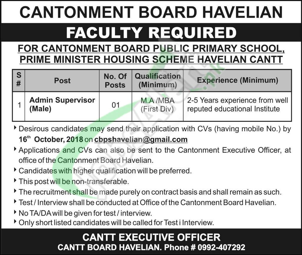 Cantonment Board Havelian Job