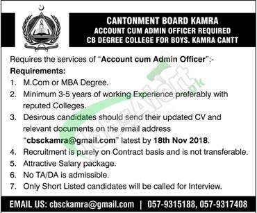 Cantonment Board Kamra Jobs 2018