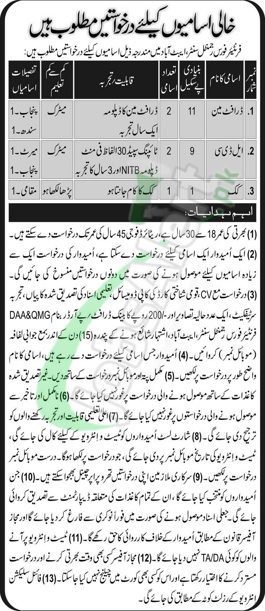 FF Center Abbottabad Jobs