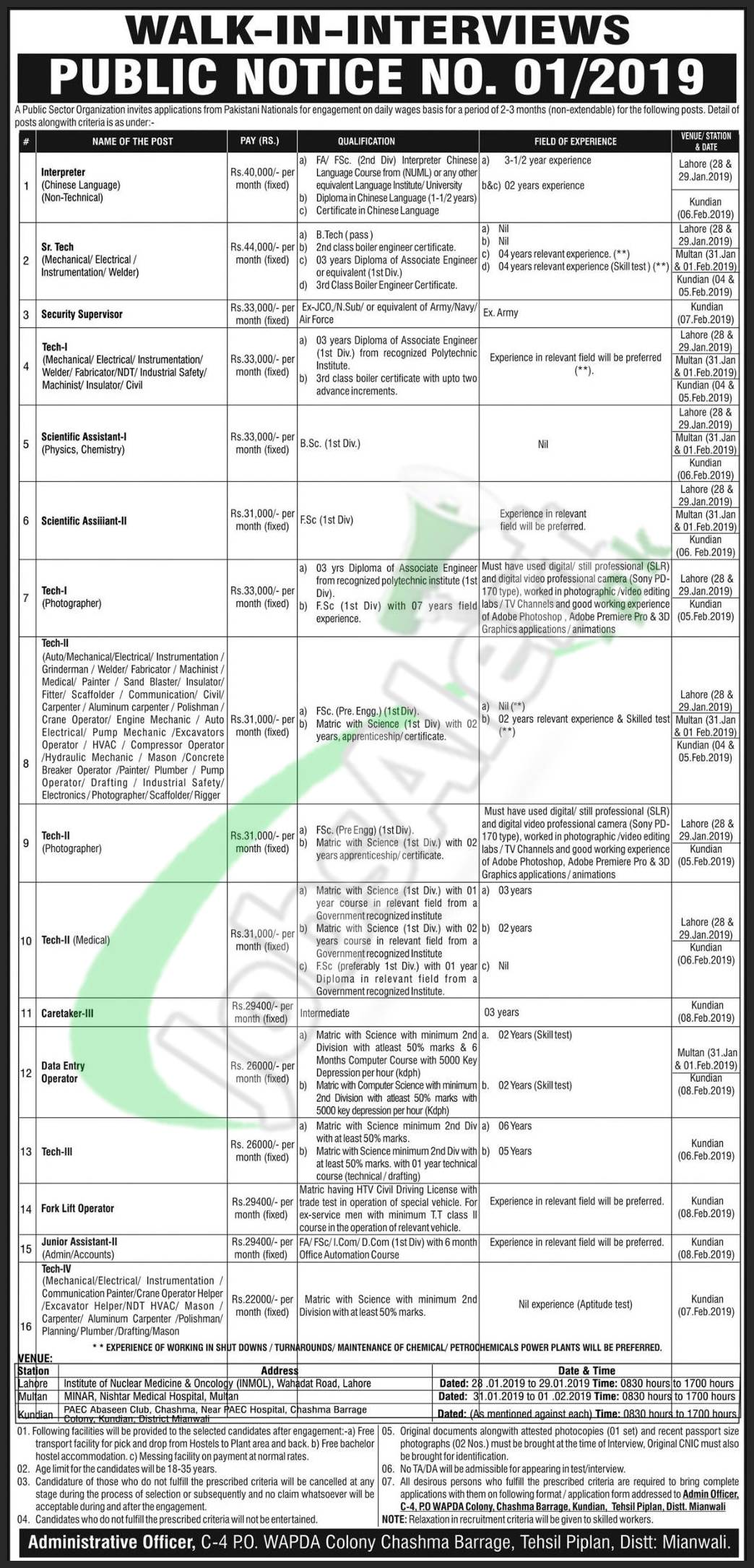 Atomic Energy Jobs Application Form 2019 Walk In Interview