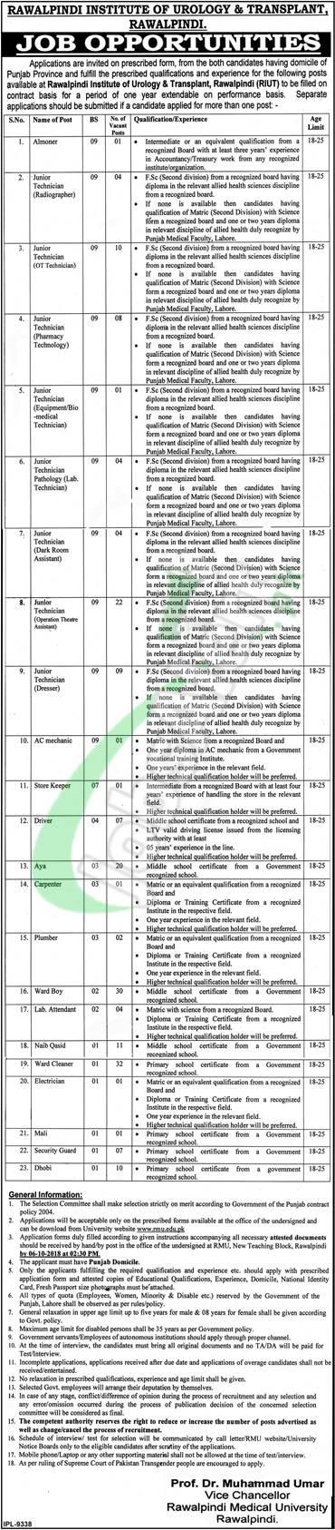 Institute of Urology and Transplantation Rawalpindi Jobs