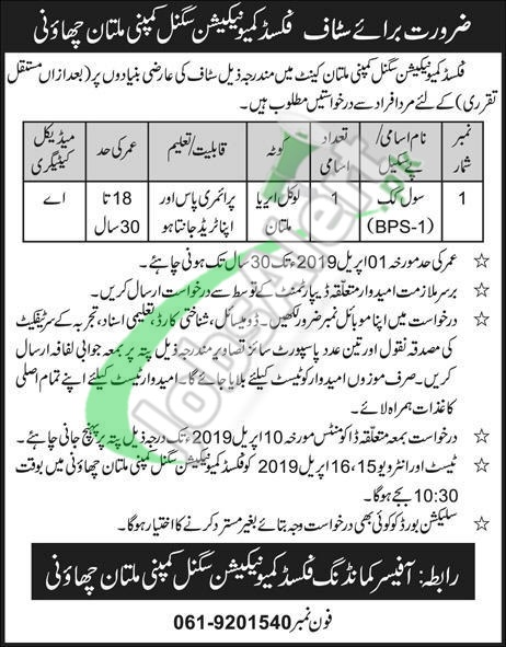 Fixed Communication Signal Company Multan Jobs 2019