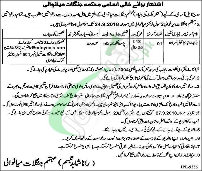 Forest Department Punjab Jobs 2018