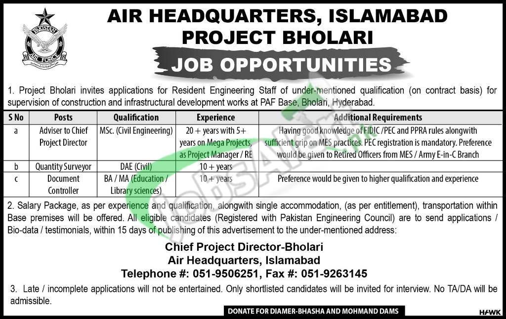 Pakistan Air Force Civilian Jobs 2019