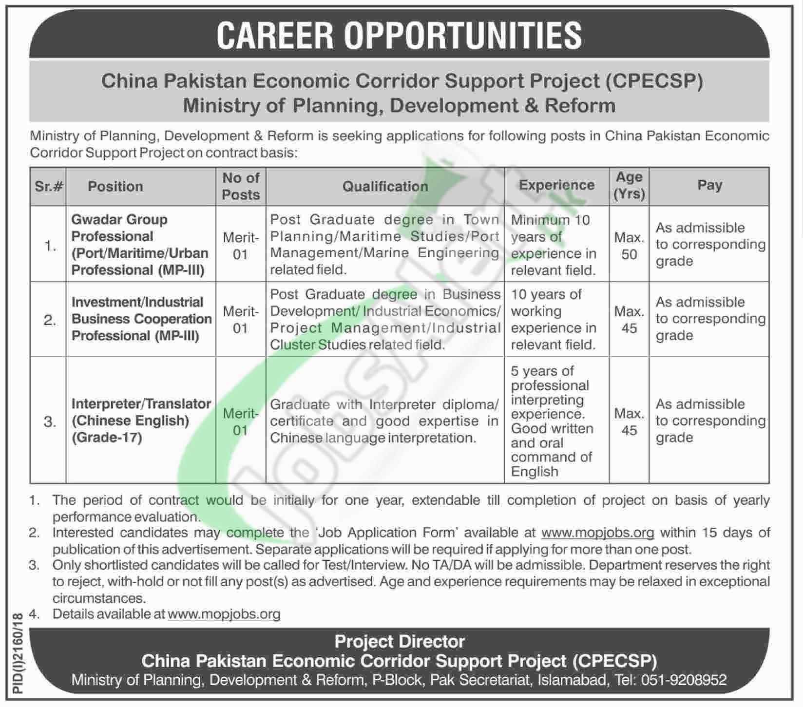 CPEC Jobs 2018