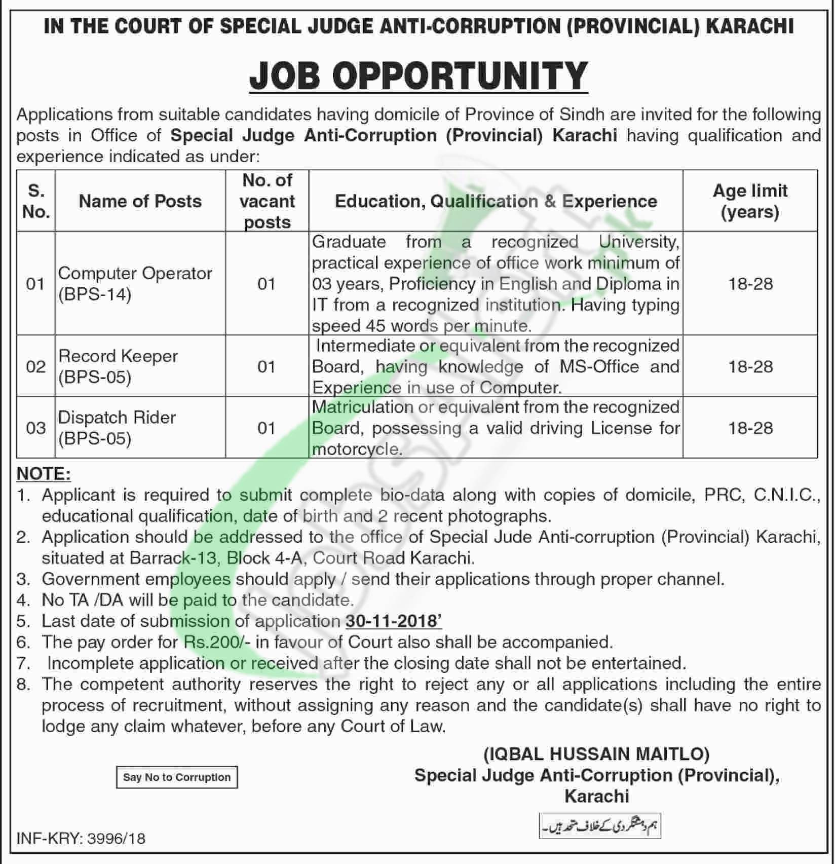 Anti Corruption Court Jobs 2018 Karachi